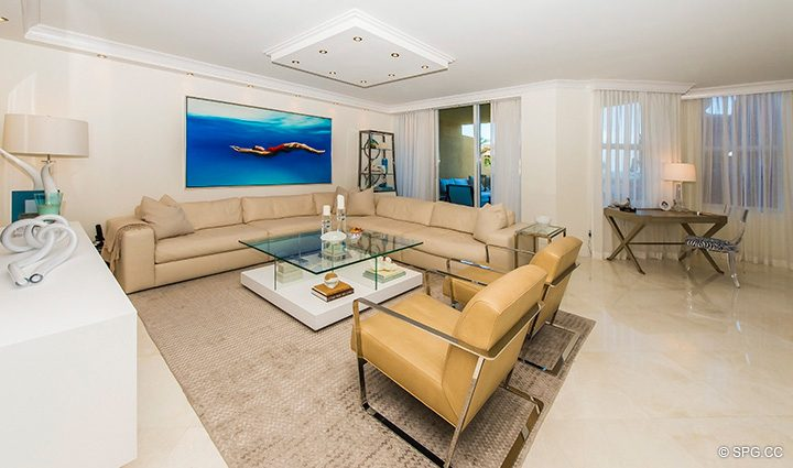 Living Room with Terrace Access in Residence 5D, Tower I at The Palms, Luxury Oceanfront Condominiums Fort Lauderdale, Florida 33305