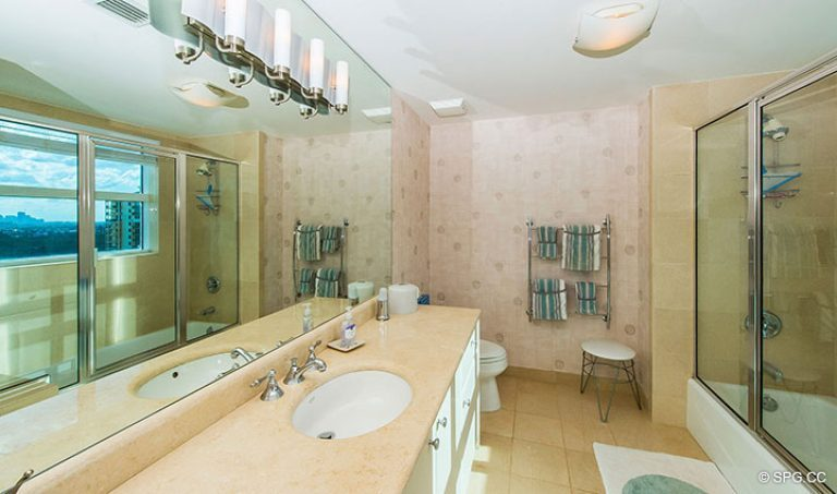 Guest Bathroom in Residence 15E, Tower II at The Palms, Luxury Oceanfront Condos in Fort Lauderdale, Florida 33305.