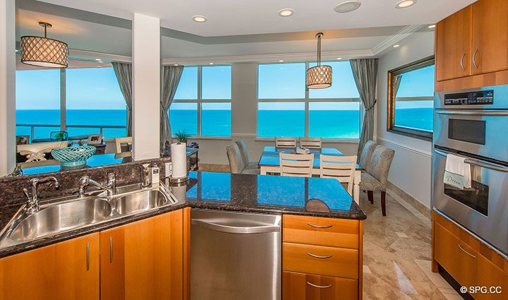 Ocean Views from Kitchen in Residence 17B, Tower II at The Palms, Luxury Oceanfront Condos in Fort Lauderdale, Florida 33305.