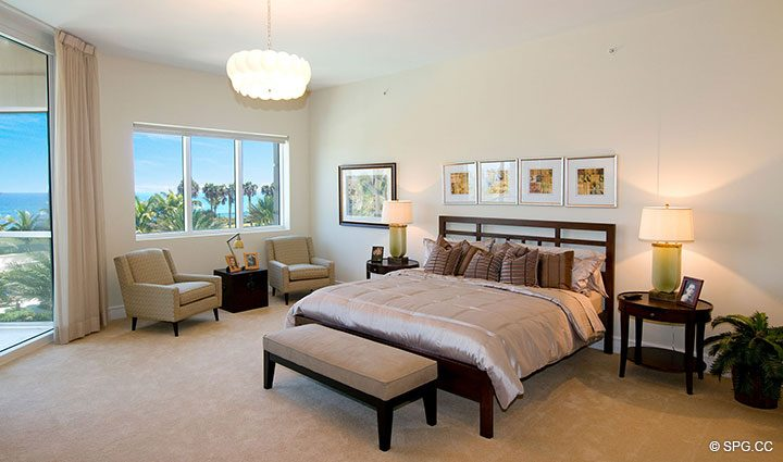 Master Bedroom inside Residence 304 at Bellaria, Luxury Oceanfront Condominiums in Palm Beach, Florida 33480.