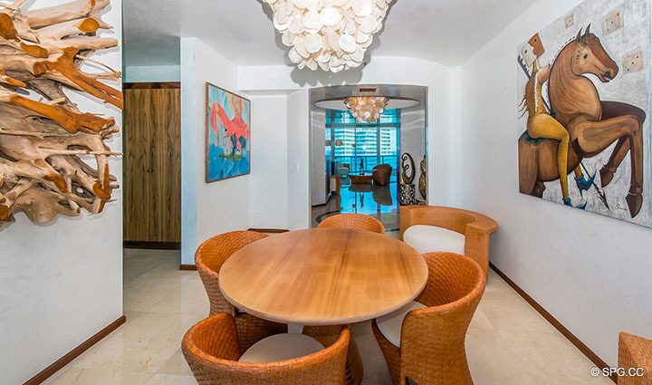 Dining Room inside Residence 3806 at Portofino Tower, Luxury Waterfront Condominiums in Miami Beach, Florida 33139