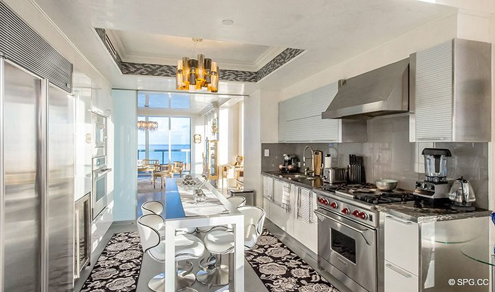 Gourmet Kitchen inside Residence 1106 at Acqualina, Luxury Oceanfront Condominiums in Sunny Isles Beach, Florida 33160
