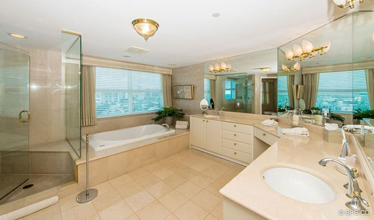 Master Bathroom inside Residence 15E, Tower II at The Palms, Luxury Oceanfront Condos in Fort Lauderdale, Florida 33305.