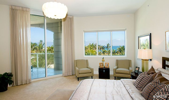 Master Suite with Terrace Access in Residence 304 at Bellaria, Luxury Oceanfront Condominiums in Palm Beach, Florida 33480.