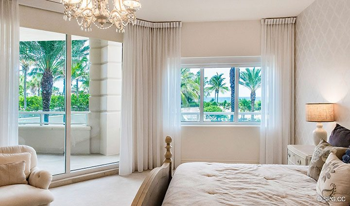 Master Bed Terrace Access Residence 204 at Bellaria, Luxury Oceanfront Condominiums in Palm Beach, Florida 33480.