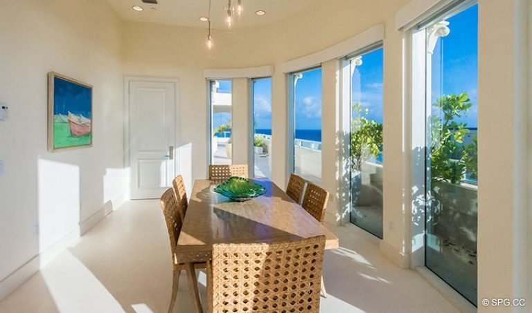 Dining Room inside Penthouse 7 at Bellaria, Luxury Oceanfront Condominiums in Palm Beach, Florida 33480.