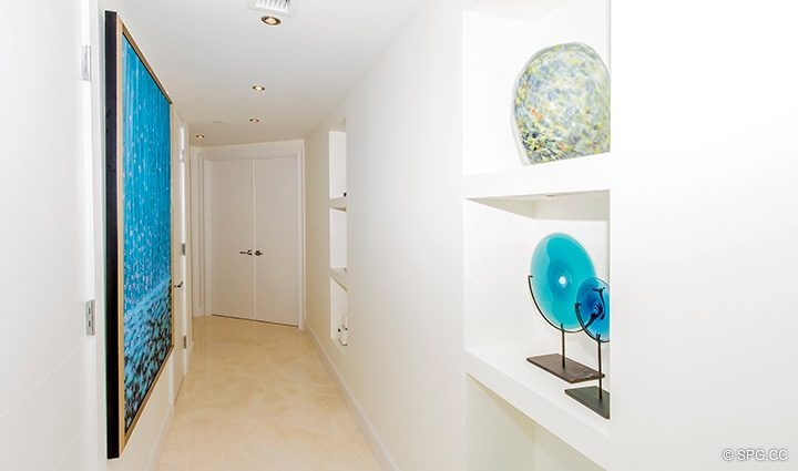 Hall inside Residence 5D, Tower I at The Palms, Luxury Oceanfront Condominiums Fort Lauderdale, Florida 33305