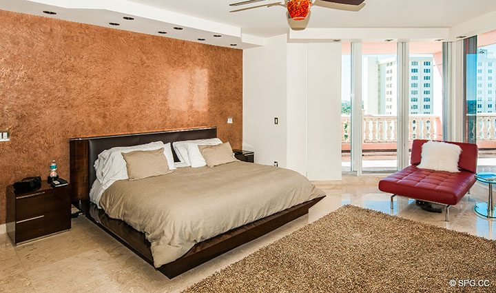 Master Suite inside Residence 11B, Tower I at The Palms, Luxury Oceanfront Condominiums Fort Lauderdale, Florida 33305