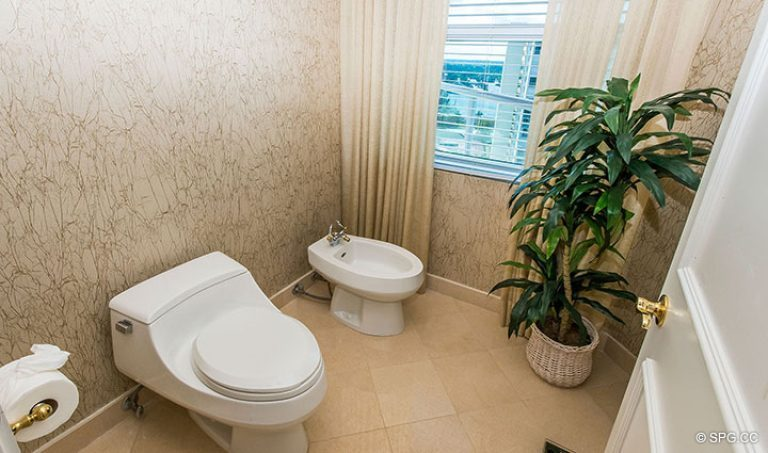 Master Water Closet in Residence 15E, Tower II at The Palms, Luxury Oceanfront Condos in Fort Lauderdale, Florida 33305.