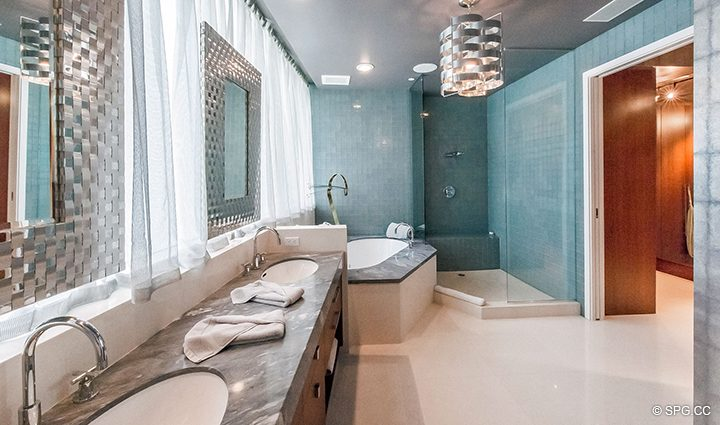 Master Bath in Residence 501 For Sale at 1000 Ocean, Luxury Oceanfront Condos in Boca Raton, Florida 33432.