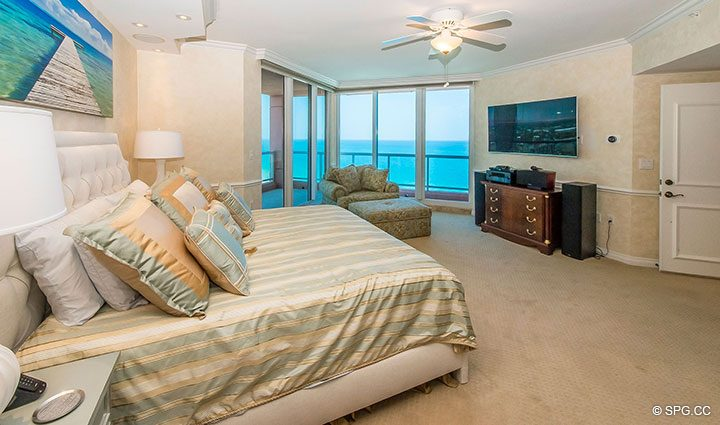 Master Bedroom in Residence 17B, Tower II at The Palms, Luxury Oceanfront Condos in Fort Lauderdale, Florida 33305.