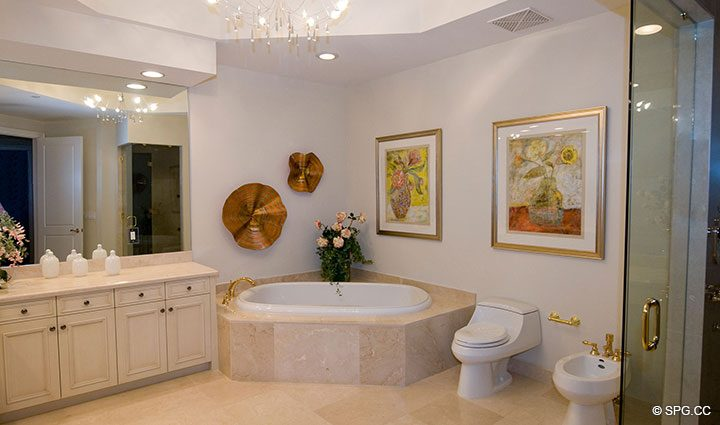 Luxurious Master Bath in Residence 304 at Bellaria, Luxury Oceanfront Condominiums in Palm Beach, Florida 33480.