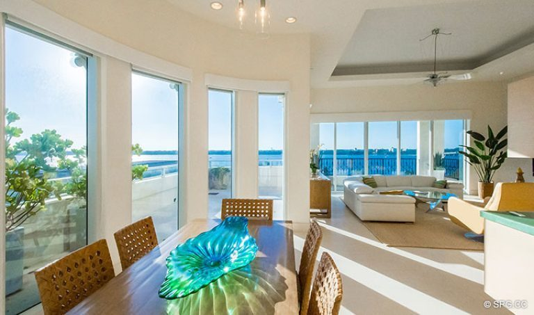 Dining Room Leading to Family Room in Penthouse 7 at Bellaria, Luxury Oceanfront Condominiums in Palm Beach, Florida 33480.