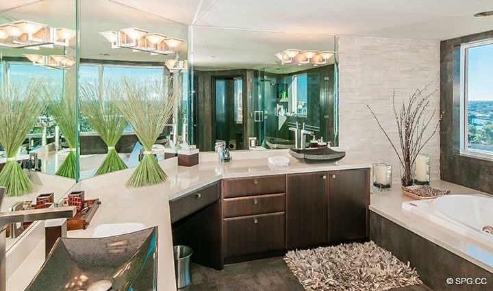 Master Bathroom in Residence 11B, Tower I at The Palms, Luxury Oceanfront Condominiums Fort Lauderdale, Florida 33305