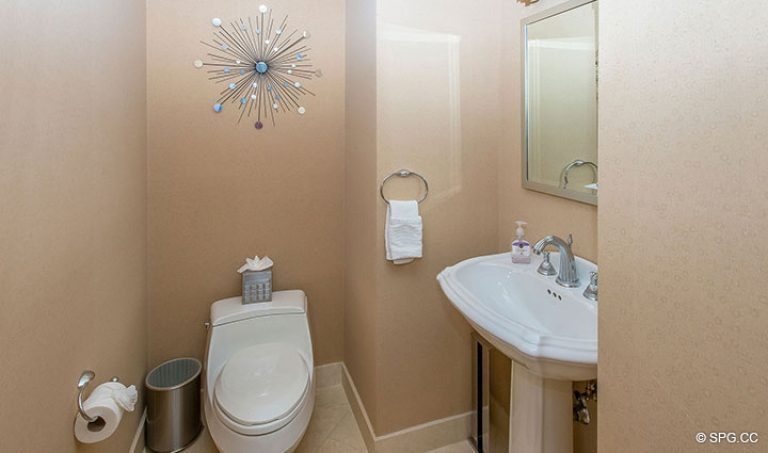 Powder Room inside Residence 15E, Tower II at The Palms, Luxury Oceanfront Condos in Fort Lauderdale, Florida 33305.