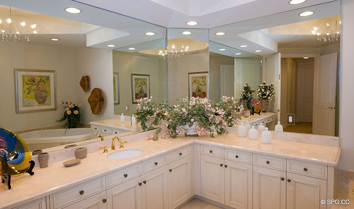 Master Bathroom inside Residence 304 at Bellaria, Luxury Oceanfront Condominiums in Palm Beach, Florida 33480.