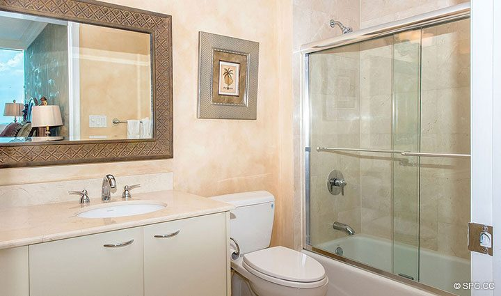 Guest Bathroom inside Residence 1204 For Sale at Aquazul, Luxury Oceanfront Condominiums Lauderdale by the Sea, Florida 33062