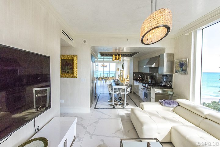 Family Room and Kitchen area in Residence 1106 at Acqualina, Luxury Oceanfront Condominiums in Sunny Isles Beach, Florida 33160
