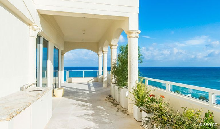 South Side of the Grand Veranda at Penthouse 7 at Bellaria, Luxury Oceanfront Condominiums in Palm Beach, Florida 33480.