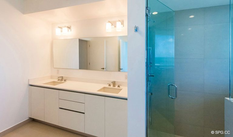 Master Bath inside Residence 4B at Sage Beach, Luxury Oceanfront Condominiums in Hollywood, Florida 33019
