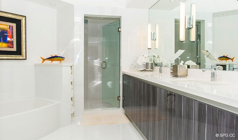 Well Appointed Master Bath in Residence 18D at Cristelle, Luxury Oceanfront Condominiums in Lauderdale by the Sea, Florida 33062.