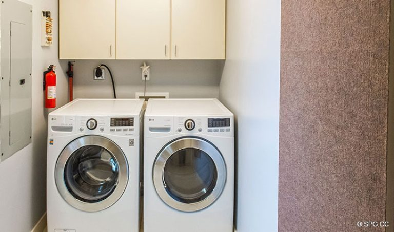 Laundry Room in Residence 15E, Tower II at The Palms, Luxury Oceanfront Condos in Fort Lauderdale, Florida 33305.