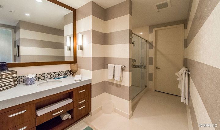 Guest Bathroom in Residence 501 For Sale at 1000 Ocean, Luxury Oceanfront Condos in Boca Raton, Florida 33432.