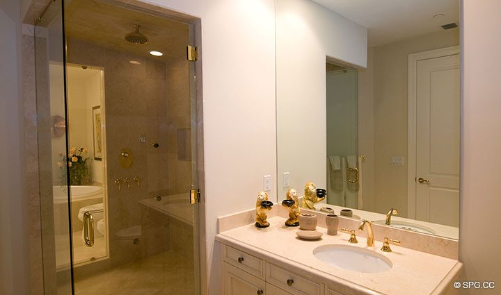 His and Her Master Bath in Residence 304 at Bellaria, Luxury Oceanfront Condominiums in Palm Beach, Florida 33480.
