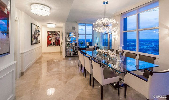 Exquisite Dining Room inside Penthouse Residence 26A, Tower I at The Palms, Luxury Oceanfront Condos in Fort Lauderdale, Florida 33305.