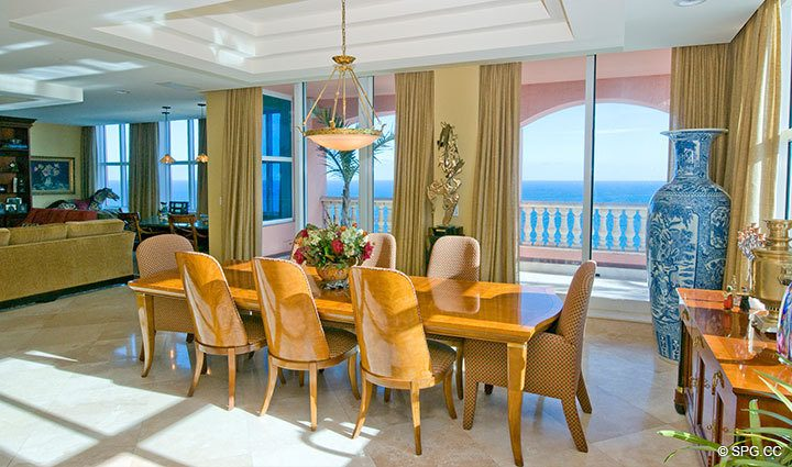 Dining Area at Luxury Oceanfront Residence at 25D, Tower II, The Palms Condominium, 2110 North Ocean Boulevard, Fort Lauderdale Beach, Florida 33305, Luxury Seaside Condos, The Palms Tower II