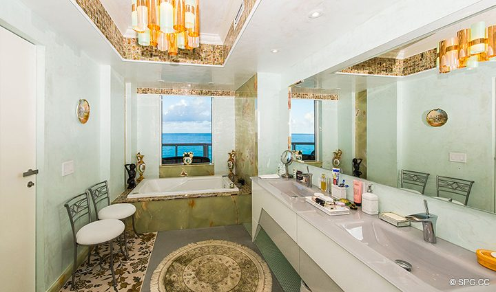 Master Bathroom in Residence 1106 at Acqualina, Luxury Oceanfront Condominiums in Sunny Isles Beach, Florida 33160