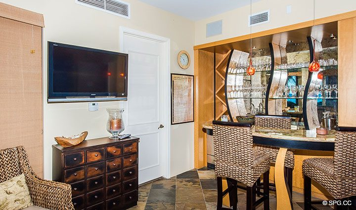 Custom Cabana Bar in Oceanfront Villa 1 at The Palms, Luxury Oceanfront Condominiums Fort Lauderdale, Florida 33305