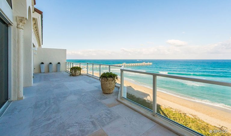 East Side of the Grand Veranda at Penthouse 7 at Bellaria, Luxury Oceanfront Condominiums in Palm Beach, Florida 33480.