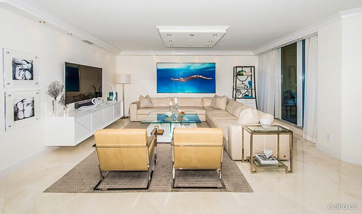 Living Room inside Residence 5D, Tower I at The Palms, Luxury Oceanfront Condominiums Fort Lauderdale, Florida 33305