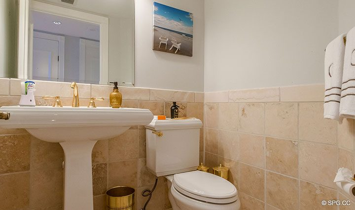 Powder Room inside Residence 17B, Tower II at The Palms, Luxury Oceanfront Condos in Fort Lauderdale, Florida 33305.