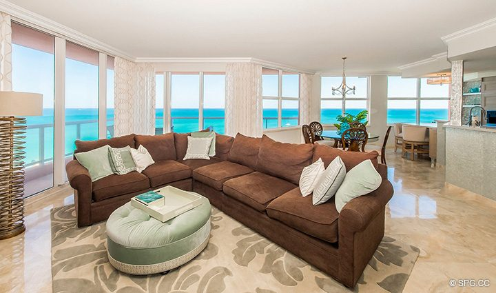Spacious Open Great Room in Residence 12B, Tower I at The Palms, Luxury Oceanfront Condominiums Fort Lauderdale, Florida 33305