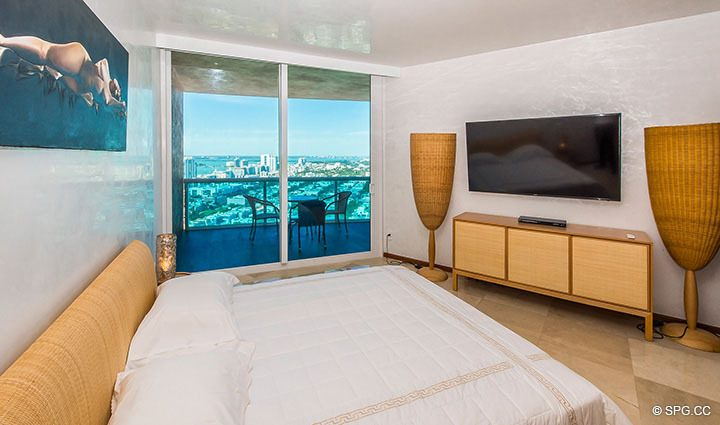 Master Bed with Terrace Access in Residence 3806 at Portofino Tower, Luxury Waterfront Condominiums in Miami Beach, Florida 33139