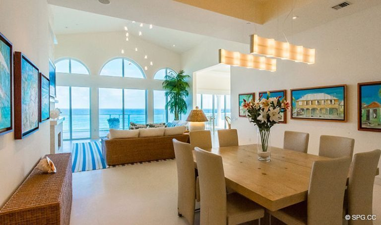 Dining Room and Living Room in Penthouse 7 at Bellaria, Luxury Oceanfront Condominiums in Palm Beach, Florida 33480.