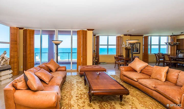 Expansive Great Room inside Residence 9B, Tower I at The Palms, Luxury Oceanfront Condos in Fort Lauderdale, Florida 33305.