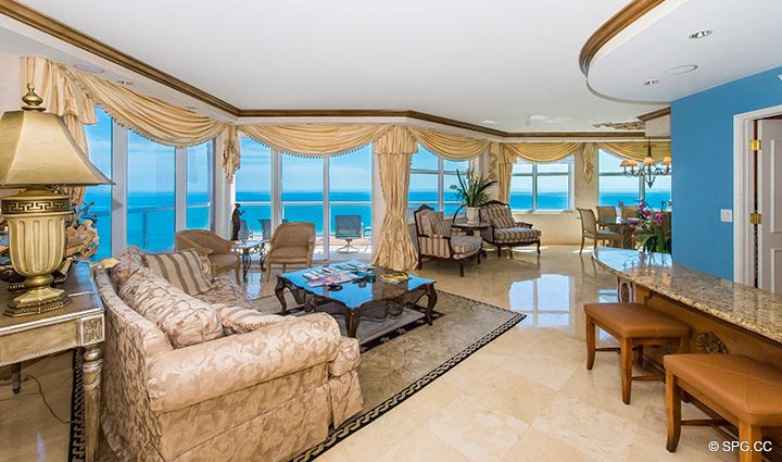 Great Room inside Residence 18B, Tower I at The Palms, Luxury Oceanfront Condominiums Fort Lauderdale, Florida 33305