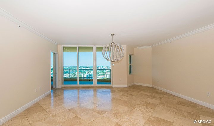 Great Room inside Residence 19A/D, Tower II at The Palms, Luxury Oceanfront Condominiums Fort Lauderdale, Florida 33305