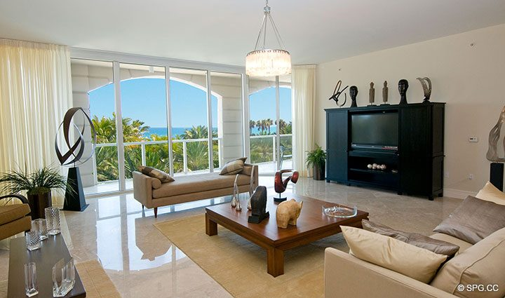 Living Room with Terrace Access in Residence 304 at Bellaria, Luxury Oceanfront Condominiums in Palm Beach, Florida 33480.