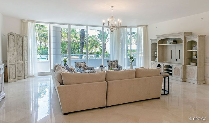Living Room with Terrace Access in Residence 204 at Bellaria, Luxury Oceanfront Condominiums in Palm Beach, Florida 33480.