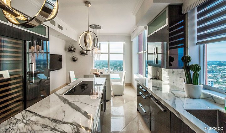 Kitchen with High-End Appliances in Penthouse Residence 26A, Tower I at The Palms, Luxury Oceanfront Condos in Fort Lauderdale, Florida 33305.