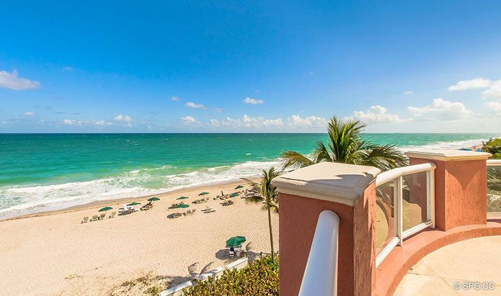 Sprawling Beach Views from Oceanfront Villa 7 at The Palms, Luxury Oceanfront Condominiums Fort Lauderdale, Florida 33305