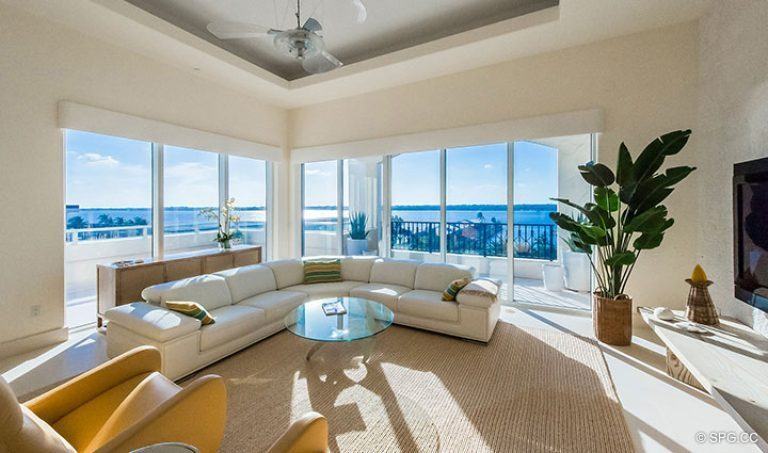 Family Room Terrace Access inside Penthouse 7 at Bellaria, Luxury Oceanfront Condominiums in Palm Beach, Florida 33480.