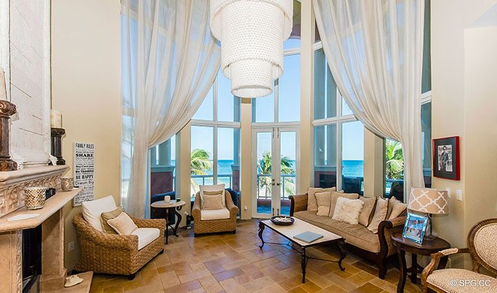 Living Room inside Oceanfront Villa 1 at The Palms, Luxury Oceanfront Condominiums Fort Lauderdale, Florida 33305
