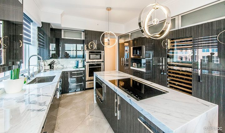 Stunning Custom Kitchen in Penthouse Residence 26A, Tower I at The Palms, Luxury Oceanfront Condos in Fort Lauderdale, Florida 33305.