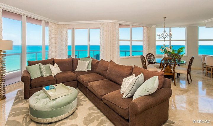 Living Room with Ocean Views in Residence 12B, Tower I at The Palms, Luxury Oceanfront Condominiums Fort Lauderdale, Florida 33305