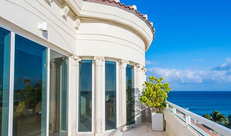 Southern Terrace Area at Penthouse 7 at Bellaria, Luxury Oceanfront Condominiums in Palm Beach, Florida 33480.